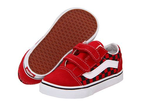 44a87001207 Vans Kids Old Skool V (Toddler) (Checkerboard Toe) Red Black - Zappos.com  Free Shipping BOTH Ways