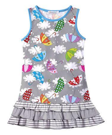 Another great find on #zulily! Grey Umbrella Ruffle Hem Dress - Toddler & Girls #zulilyfinds