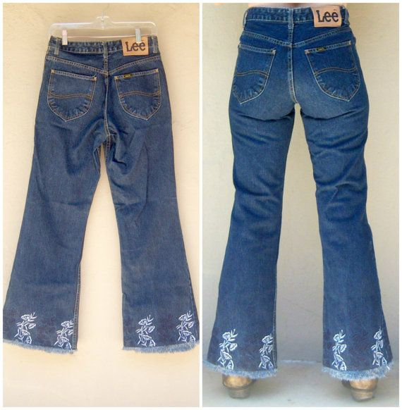 vintage 70s high waisted jeans // LEE bell bottom by dahlilafound, $88.00