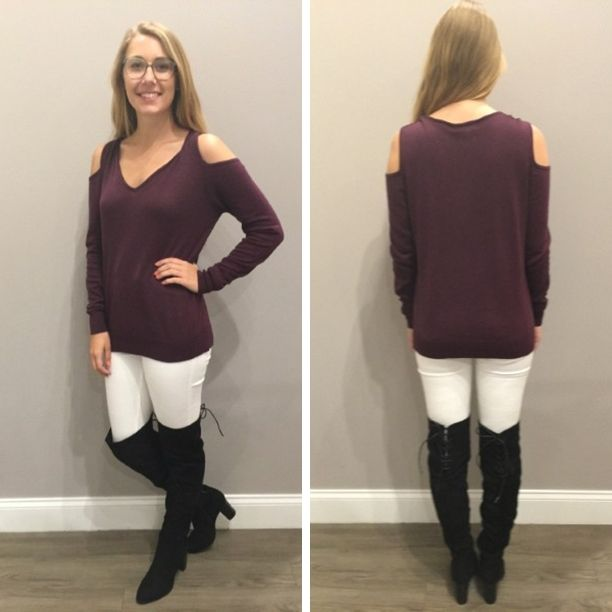 We LOVE cold shoulders and this deep burgundy, sweater is no exception!  - $63…
