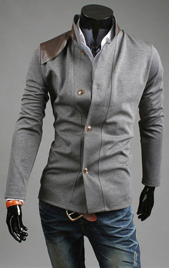 Men's Italian Cut Vintage Coat - Casual Knitting Slim Button Suit Top  Design Coat Jacket Blazers