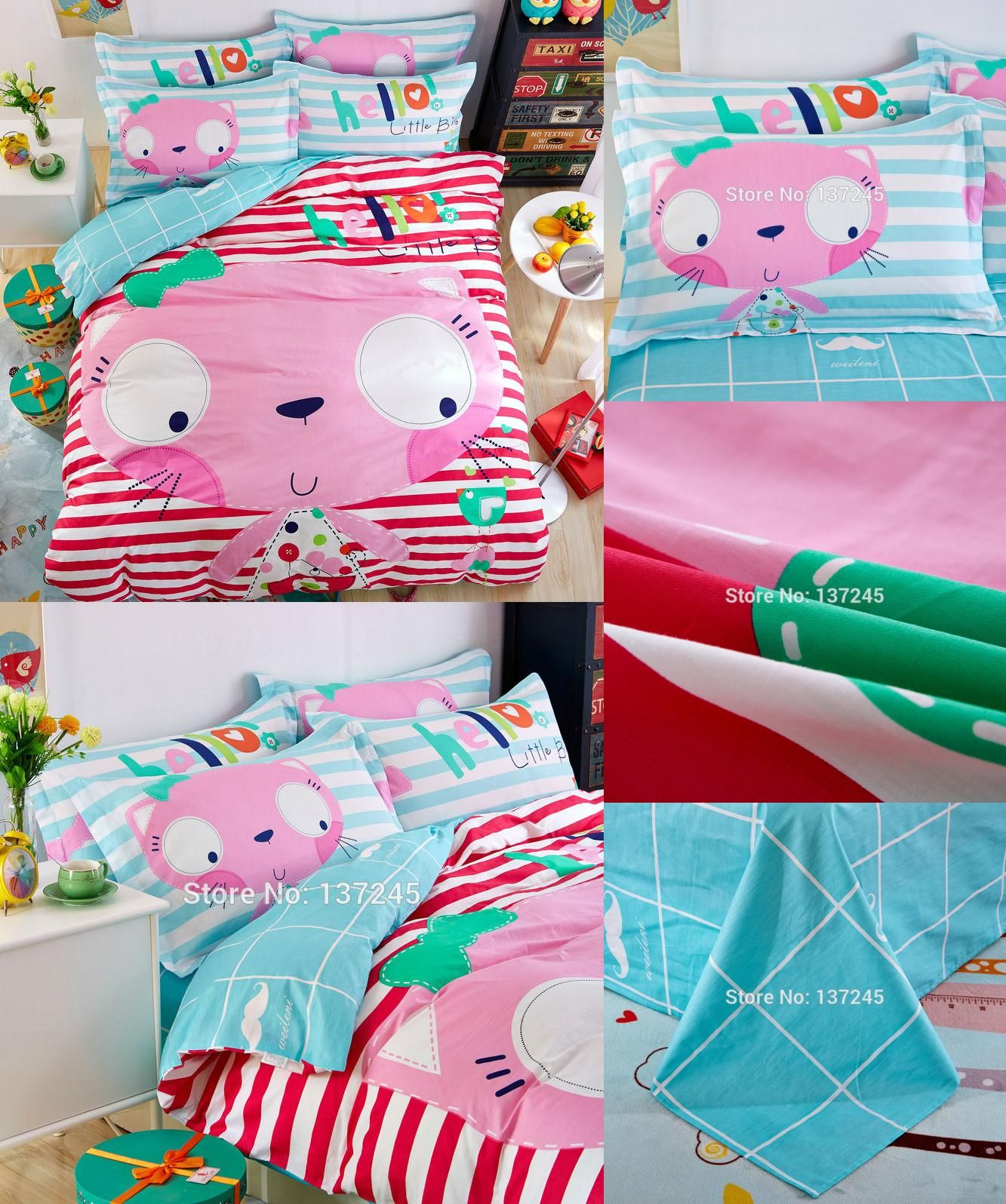 Visit To Buy Big Face Pink Cat Red White Stripes Sheets Sets