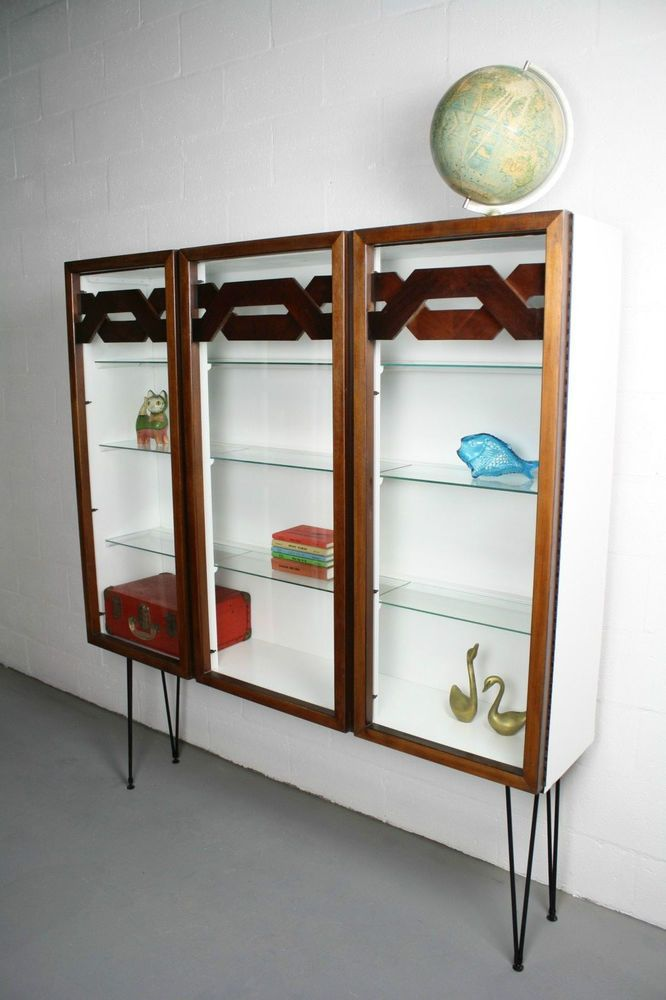 reworked mid century modern lane wall unit china cabinet curio hairpin legs 60s