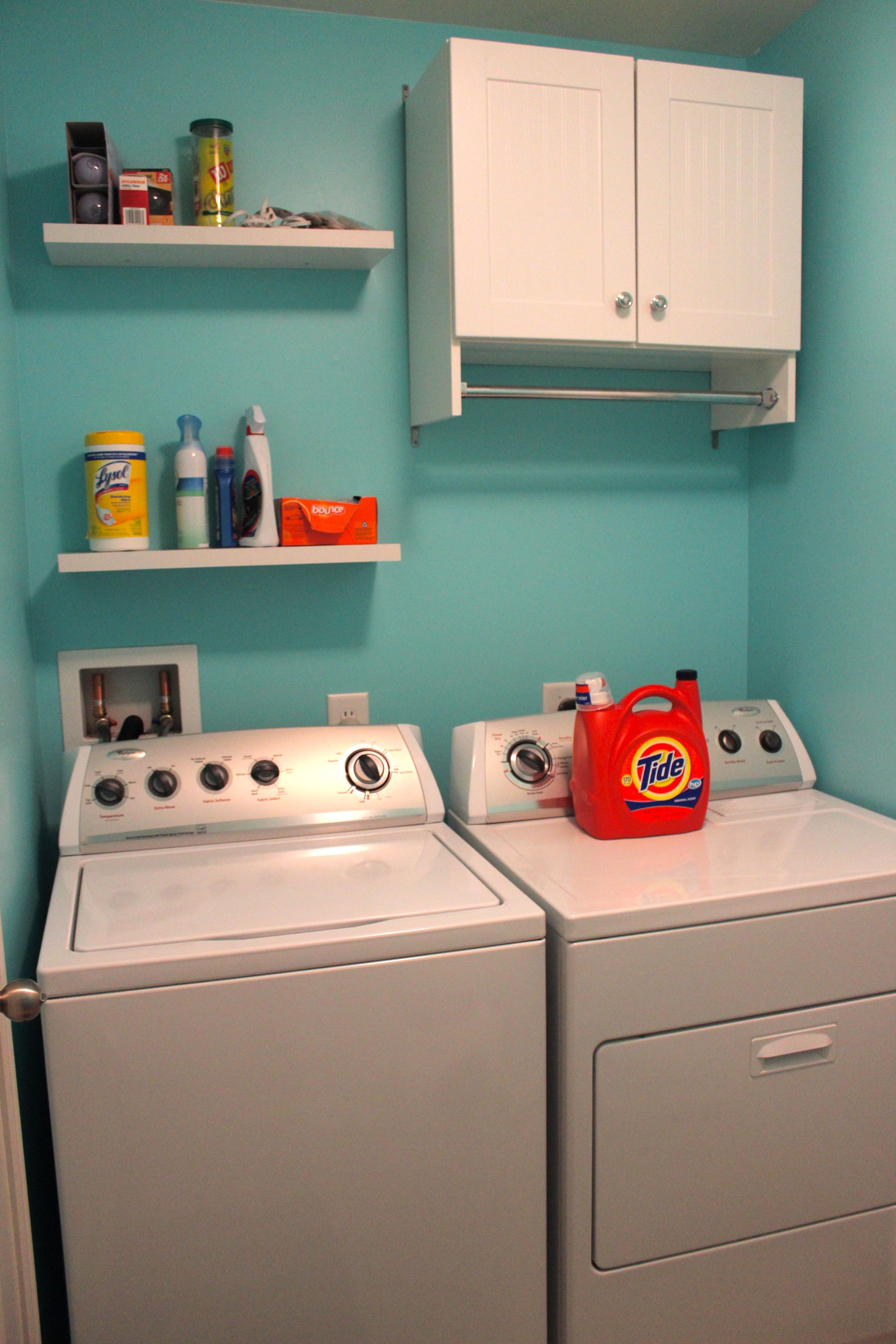 Behr Sweet Rhapsody Blue Laundry Room Added Cabinet And