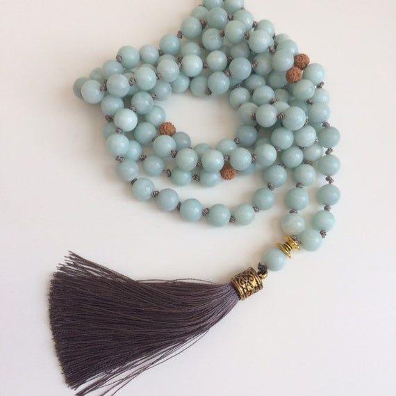 Amazonite Mala Necklace Blue Green Mala Beads Prayer Beads