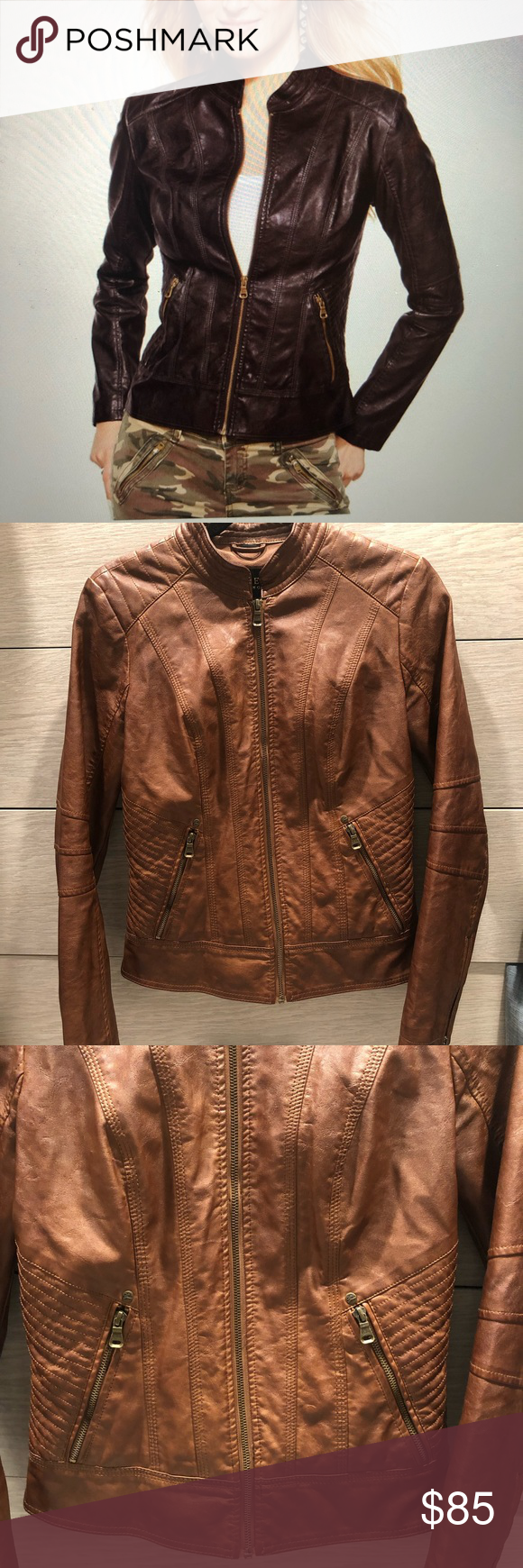 Guess Brown Leather Moto Jacket Jackets Leather Moto Jacket Leather Moto [ 1740 x 580 Pixel ]