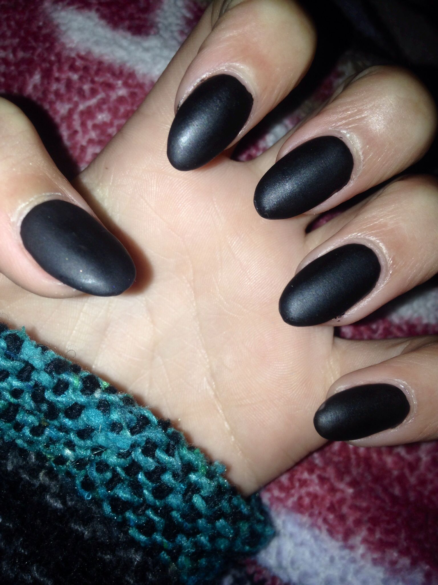 Matte black almond shape nails | Nails | Pinterest ...