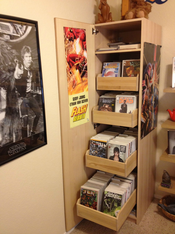 Ikea Comic Cabinet Comic Room Comic Book Rooms Comic Book Storage