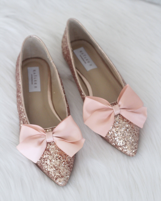 5a81756fdac2 Women Wedding Shoes Bridesmaid Shoes ROSE GOLD Rock Glitter