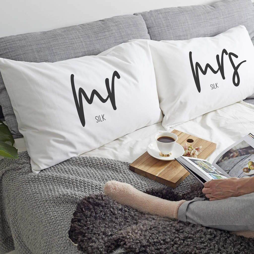 Personalised 'Mrs Or Mr' Pillow Case in