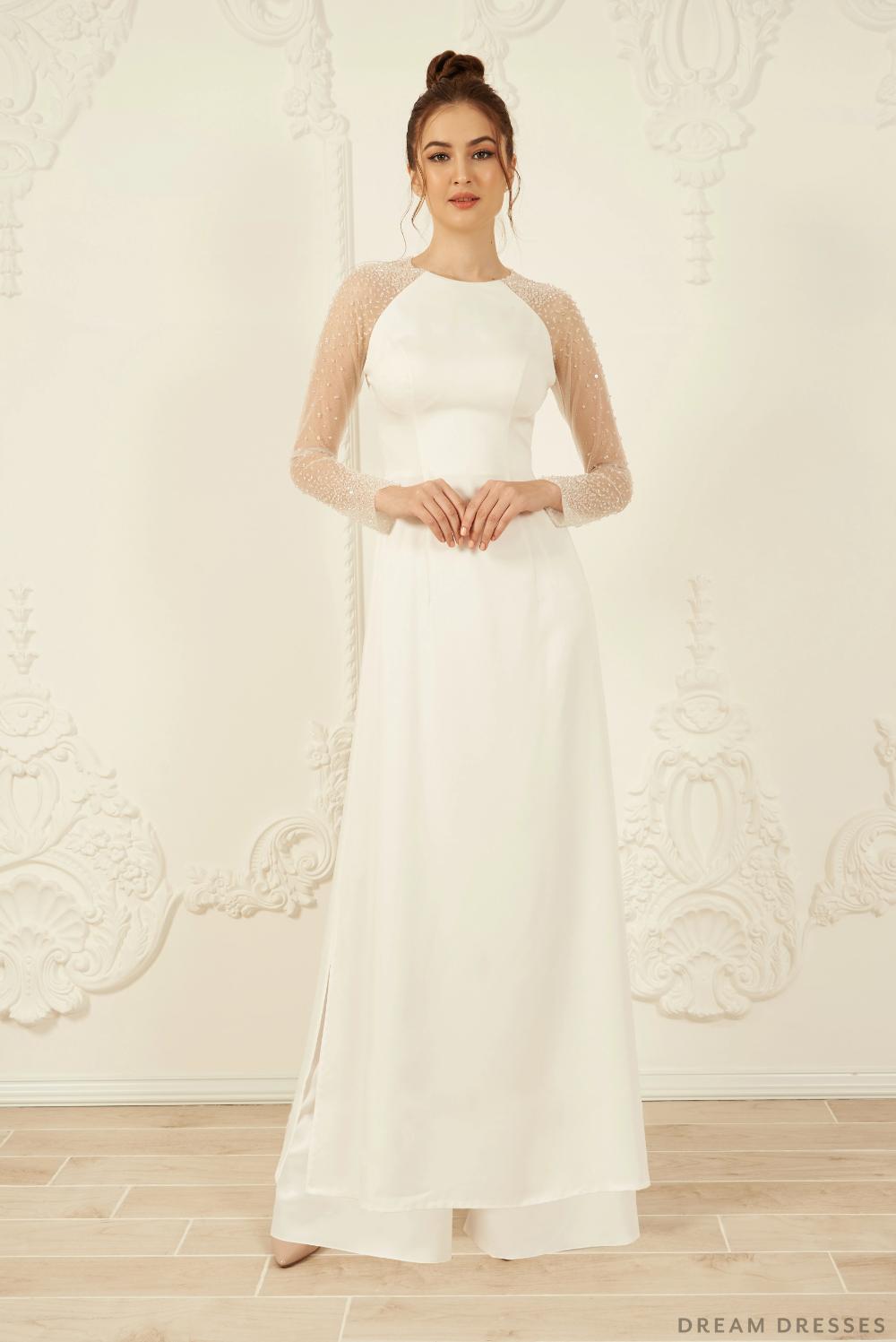 White Ao Dai Long Sleeves Vietnamese Bridal Dress (