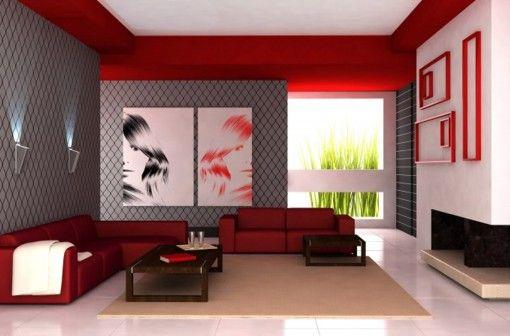 MUEBLES MODERNOS PARA EL SALÓN Salon rojo gris Pinterest