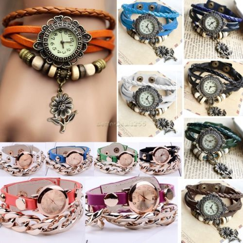 B20E Retro Women Vintage Pendant Weave Wrap Quartz Leather Wrist Watch Bracelet