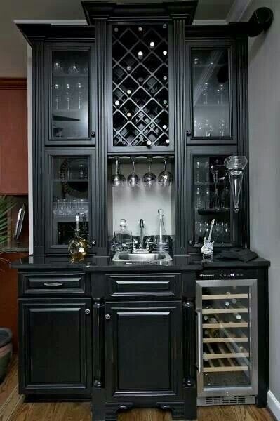 Black Cabinet And Wine Cooler Cabinets Kitchen Wet Bar