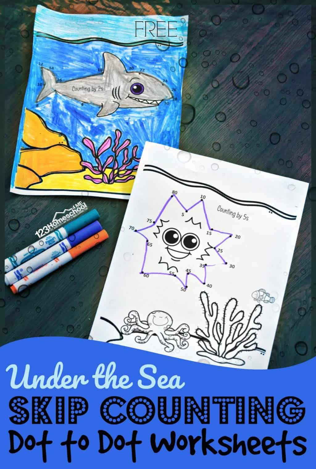 Under The Sea Skip Counting Dot To Dot Worksheets