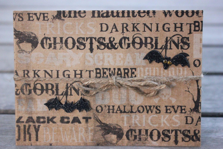Halloween Notecard, Bats Beware, Kraft Halloween Notecard, Rustic Halloween…