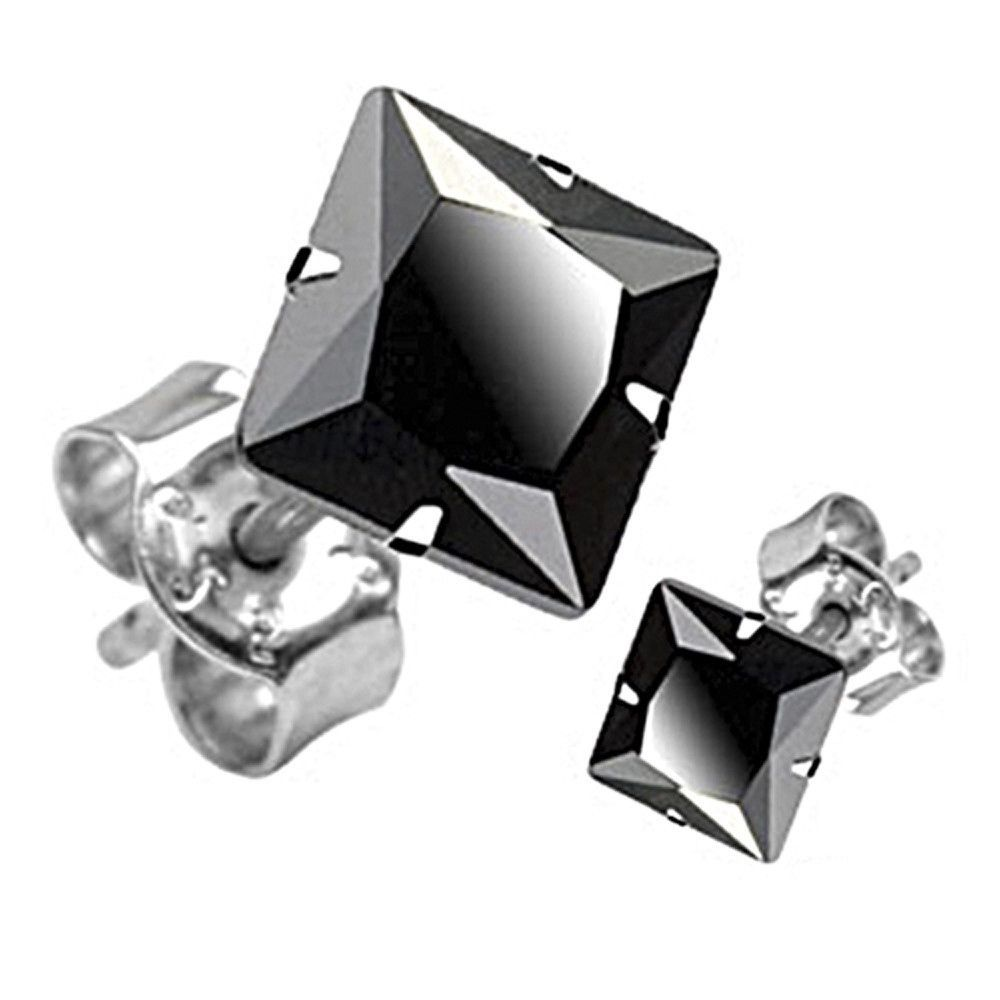 iJewelry2 Square Invisible Cut CZ Basket Set Silver Men Unisex Stud Earrings (1ct. 6mm) IAwmiFt