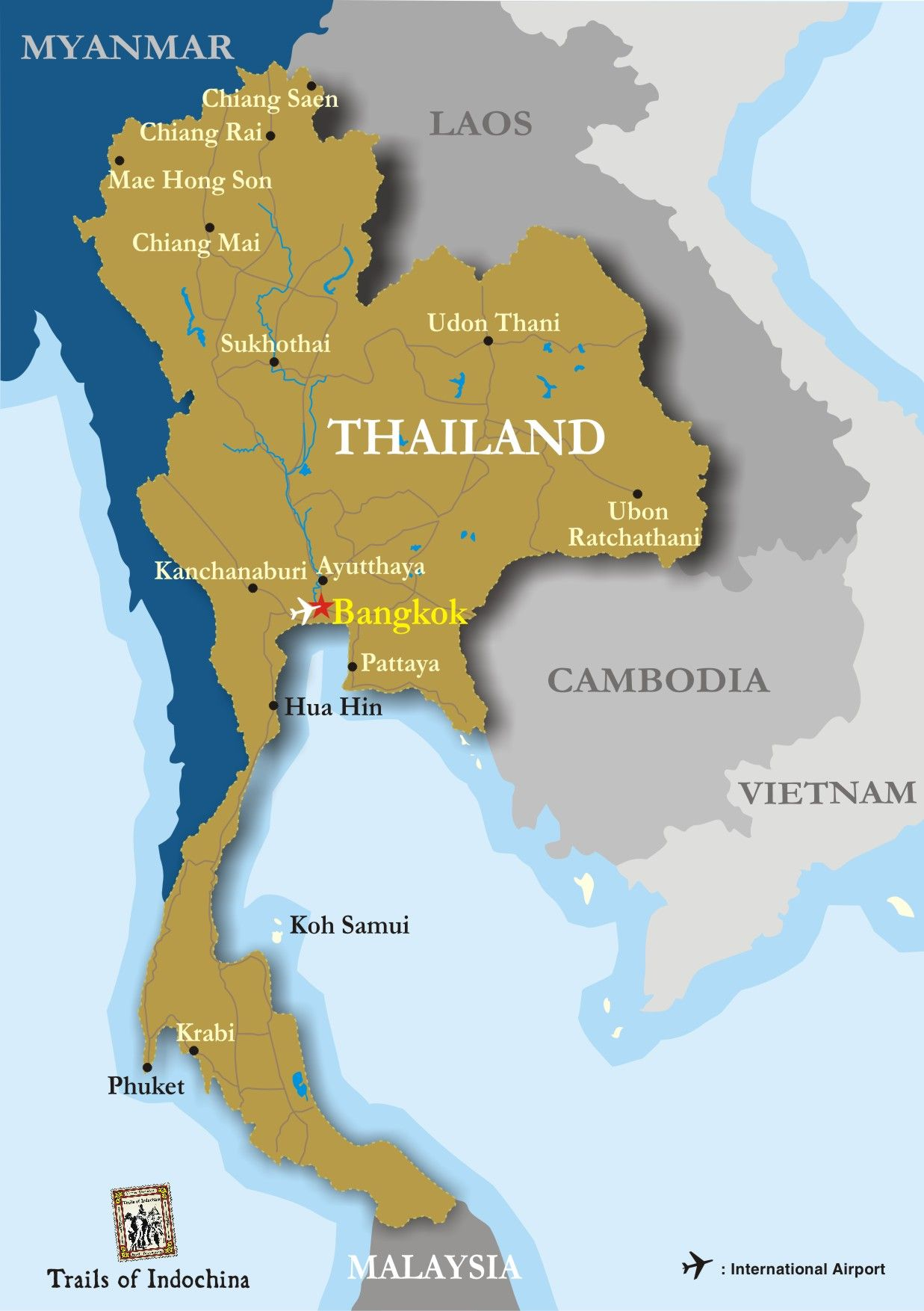 Thailand Map Trails of Indochina travel Pinterest Southeast