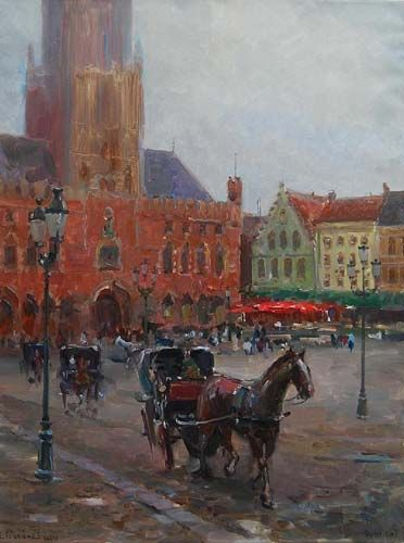 Grote Market in Morning Fog, Oil on Canvas, 40 x 30 inches