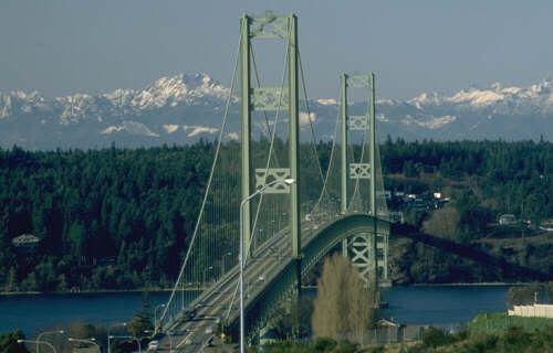 Tacoma Narrows Bridge Spanning The Tacoma Narrows Strait