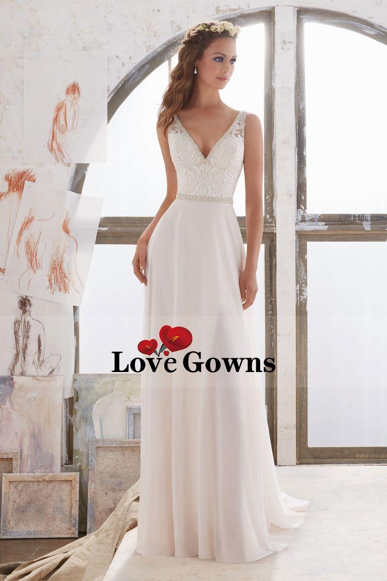 A line chiffon wedding dress   V Neck Wedding Dresses A Line Chiffon With Beads And Embroidery