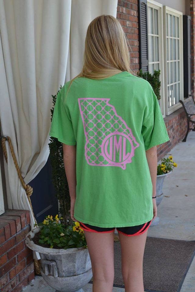 Georgia Comfort Color Monogrammed T-Shirt – Wiregrass Designs. Use code Pinterest at checkout for free shipping!