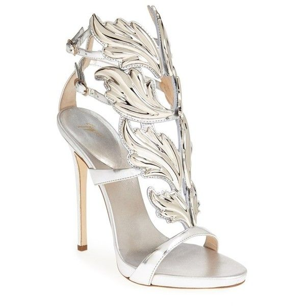 Women's Giuseppe Zanotti 'Coline' Winged Sandal ($1,480) ❤ liked on Polyvore featuring shoes, sandals, heels, high heels, giuseppe zanotti, high heel stilettos, heels stilettos, stiletto heel sandals and high heel shoes
