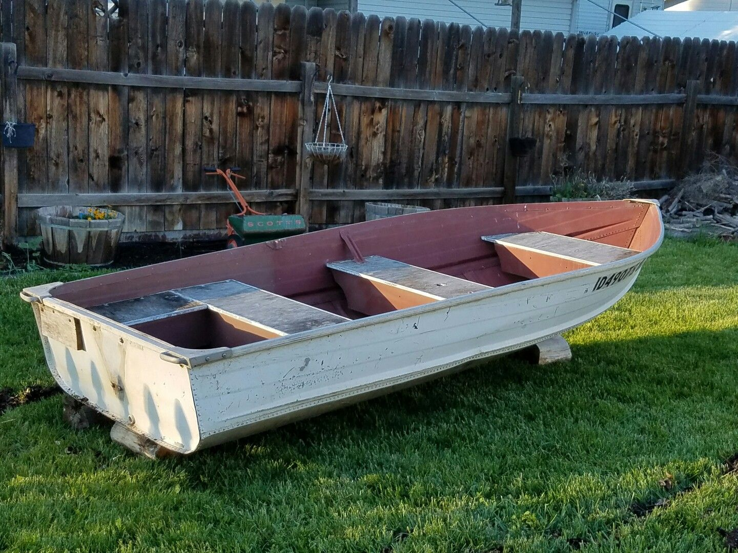 Our 12 ft aluminum fishing boat before sanding and for 12 foot fishing boat