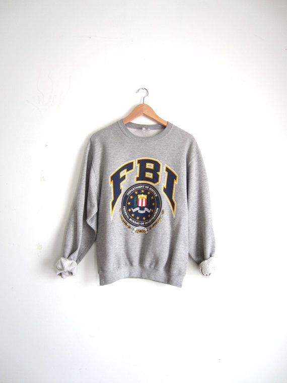 109dc9efd Vintage 90s FBI Grey Sweatshirt by CUPIDANDPSYCHELTD on Etsy, $39.00 ...