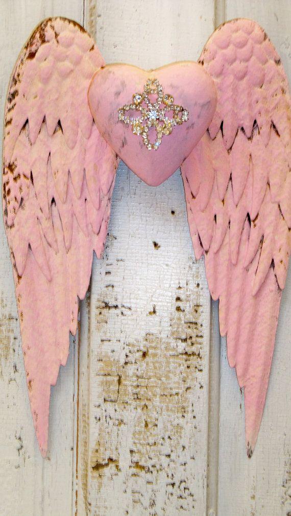 Metal angel wings pink rusty with rhinestone embellished heart ...
