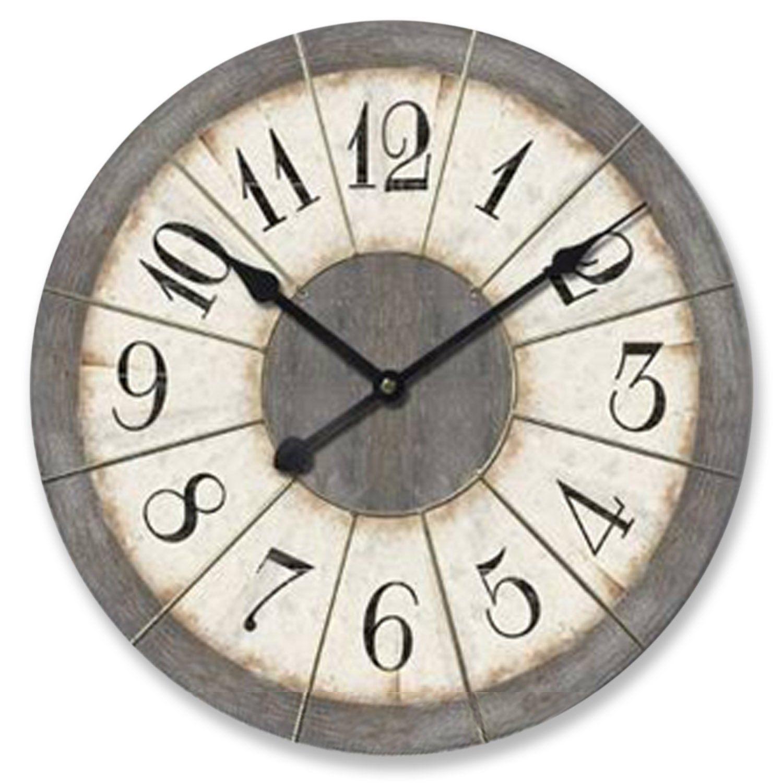 Amazon Com Ashton Sutton Large 23 Inch Wall Clock Grey Home