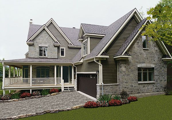 This two story mountain house plan is perfect for a for Waterfront home plans sloping lots