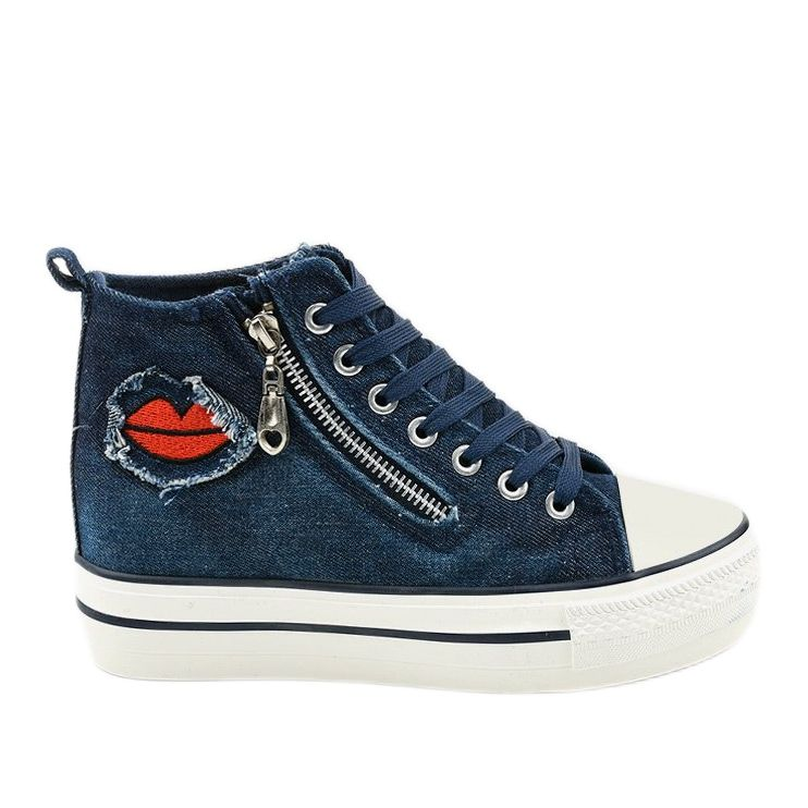 Granatowe Sneakersy Na Koturnie Sznurowane Dane Chucks Converse Chuck Taylor Sneakers Converse Chuck Taylor High Top Sneaker