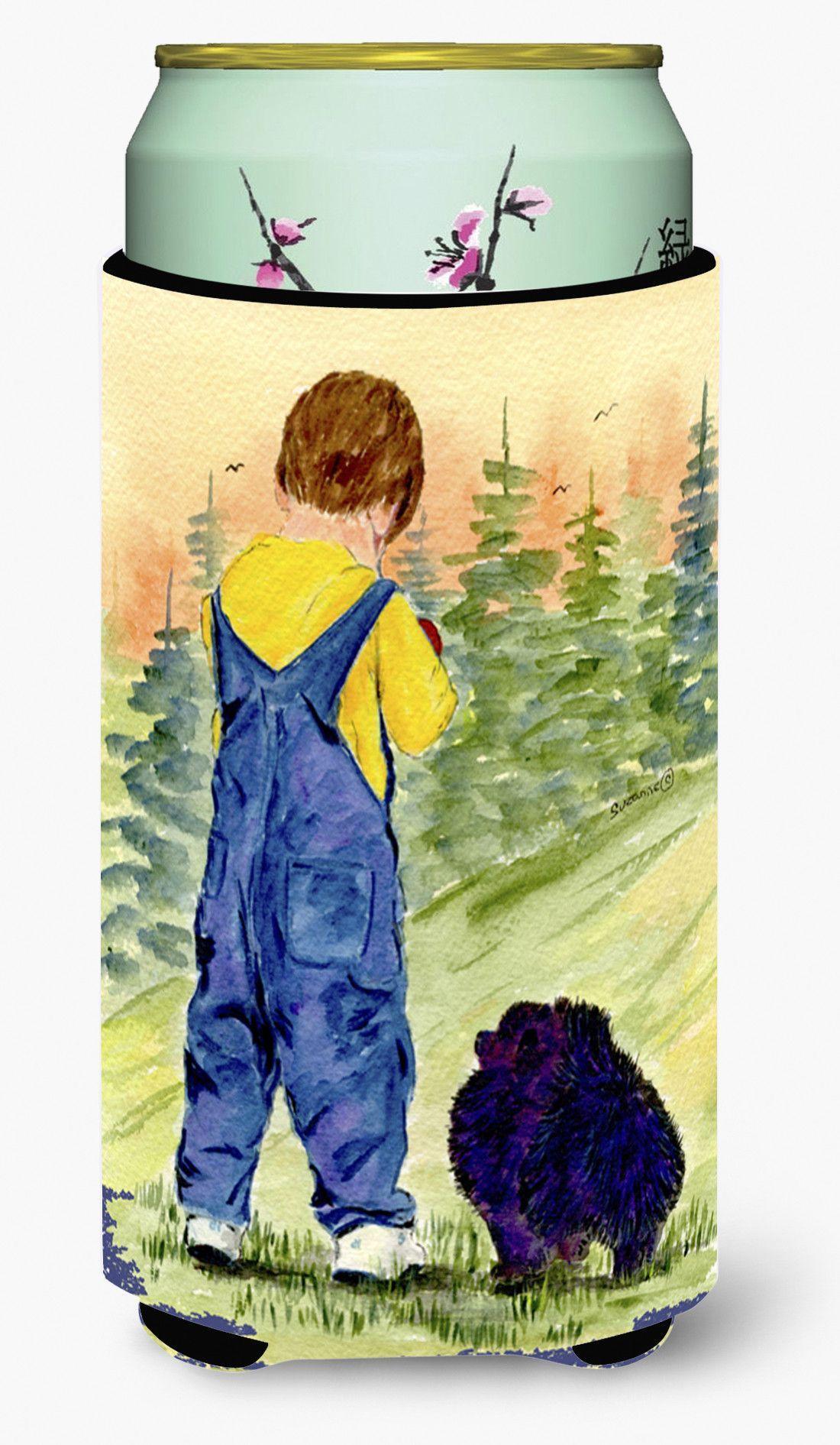 Little Boy with his Pomeranian Tall Boy Beverage Insulator Beverage Insulator Hugger
