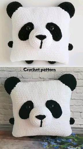 Crochet pattern panda/ Amigurumi panda/ Crochet pillow/ Crochet decor/ Amigurumi pillow/ Amigurumi pattern panda/ crochet toy panda