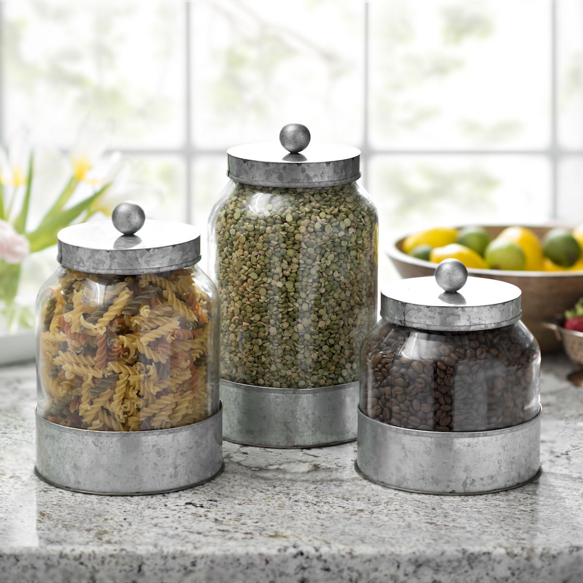 cute kitchen canisters product details galvanized metal and glass canisters set of 3 in 2019 farmhouse kitchen 2189