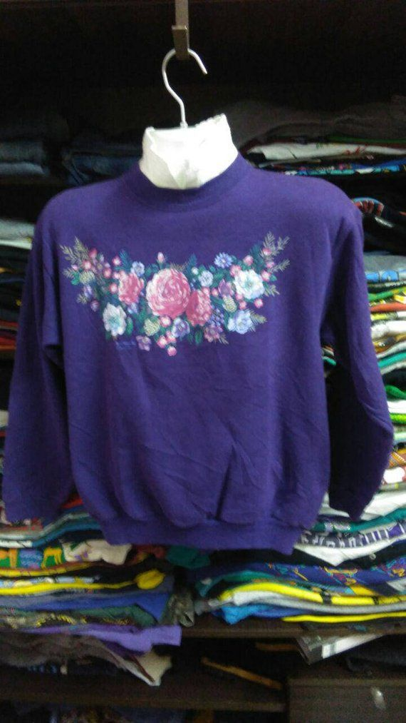 adc35fb10a vintage Clothing 80s Rare Morning Sun Made In USA FLOWERS crewnec ...