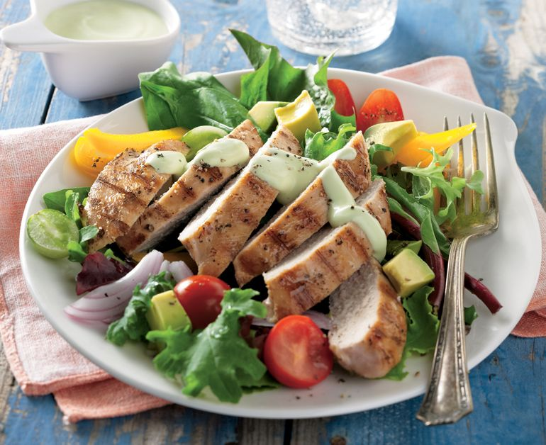 Grilled Chicken Salad With Creamy Avocado Dressing Daisy Brand Sour Cream Cottage Cheese Recipe Grilled Chicken Salad Creamy Avocado Dressing Wraps Recipes Healthy