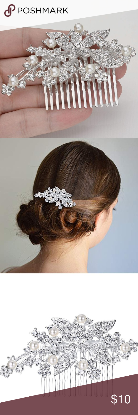 Orchid leaf simulated pearl bridal hair piece comb Use this comb in a feminine movie star hair style, like a low side bun and a up-do style. Add a vintage glamour to your hair for any occasions. Great for a bride  Length: 5.4cm(2.1