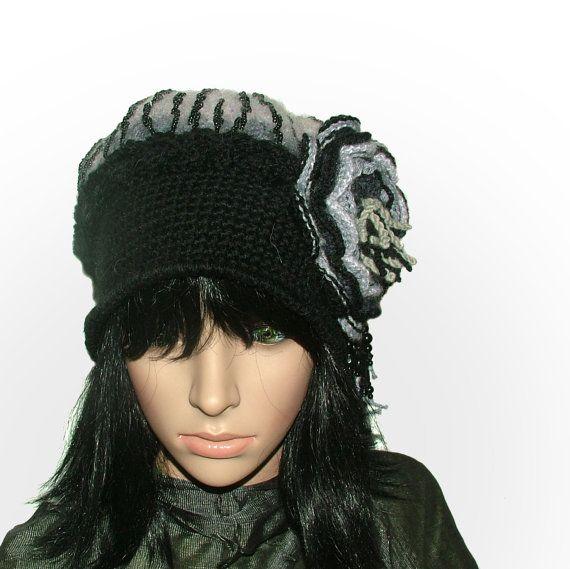 Black Grey Crochet Felt Cloche Hat Beanie with от rensfibreart, $95.00