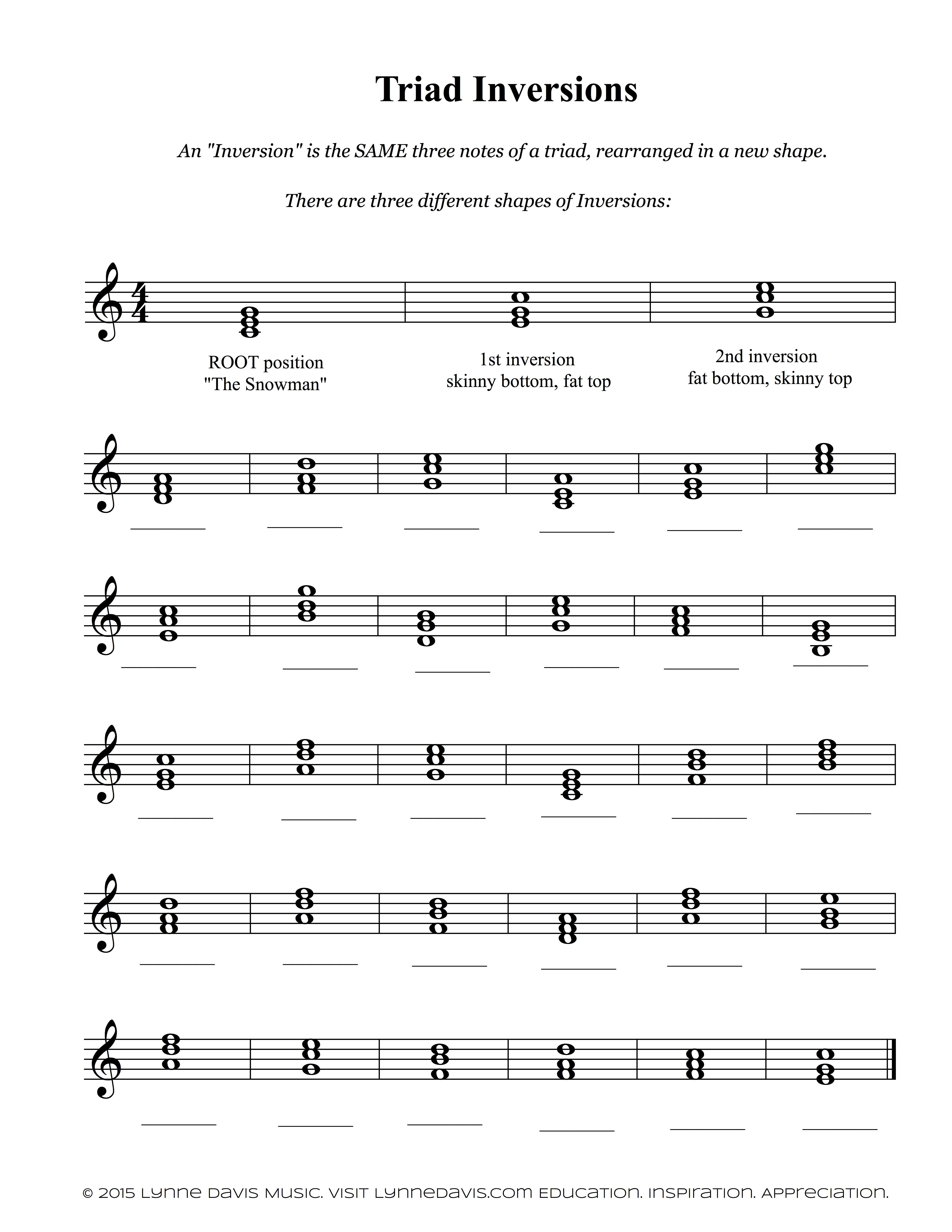 Inversions Worksheet | Music theory worksheets, Free music ...