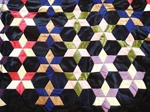 Fine Antique Victorian Society Silk Embroidered Silk Stars Quilt | Vintageblessings