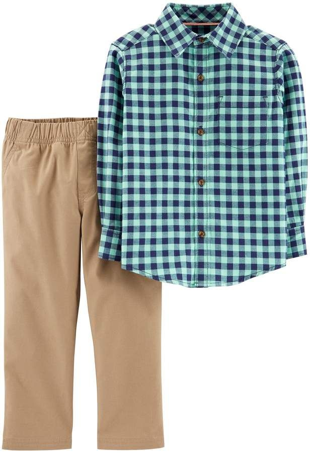 52f8dd994 Toddler Boy Carter's Flannel Button Down Shirt & Khaki Pants Set ...
