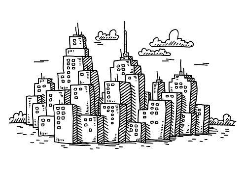 Cityscape Cartoon Skyscraper Buildings Drawing