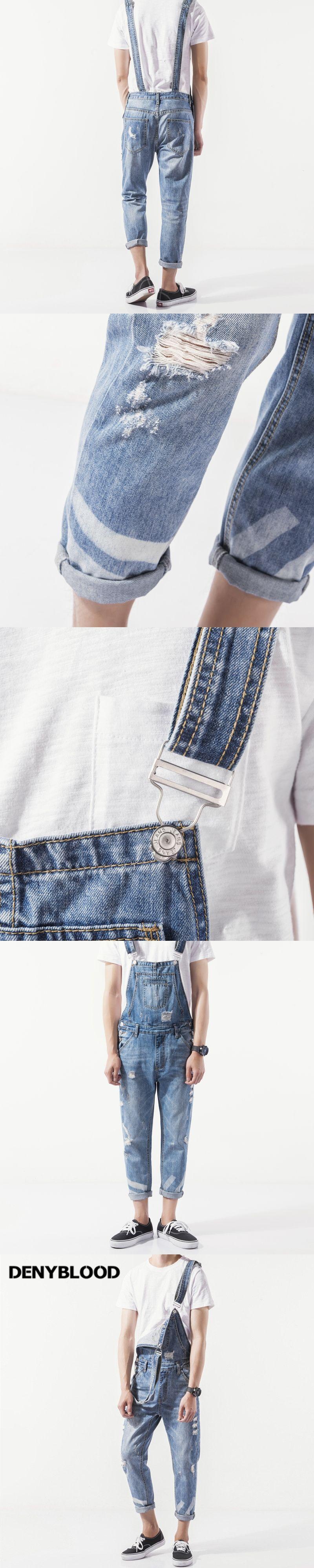 41dd97fbbbe4 Denyblood Jeans Mens Distressed Jeans Ripped Slim Jeans Denim Bib Overalls  Fashion Hole Vintage Washed Jumpsuits