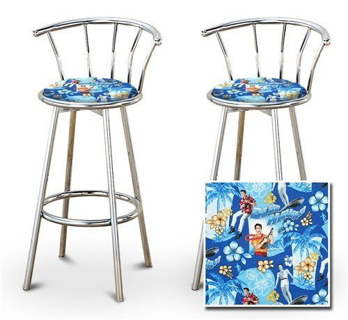 "2 Elvis Presley Blue Hawaii Fabric Specialty / Custom Chrome Barstools with Backrest Set by The Furniture Cove. $154.88. Back Rest and Foot Rest. Elvis Presley Blue Hawaii Fabric Print Seat. Swivel Seat. 24"" Tall to Seat. Chrome Finish. These are new, 24"" chrome bar stools with footrests and swivel seats with a backrest! These Feature Elvis Presley Blue Hawaii fabric seats that are cool and unique. The pads are 14"" across and the seat is 24"" tall. The entire heigh..."