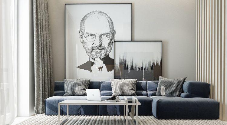 bilder-wohnzimmer-modern-kunst-portrait-steve-jobs-schwarz-weiss ...