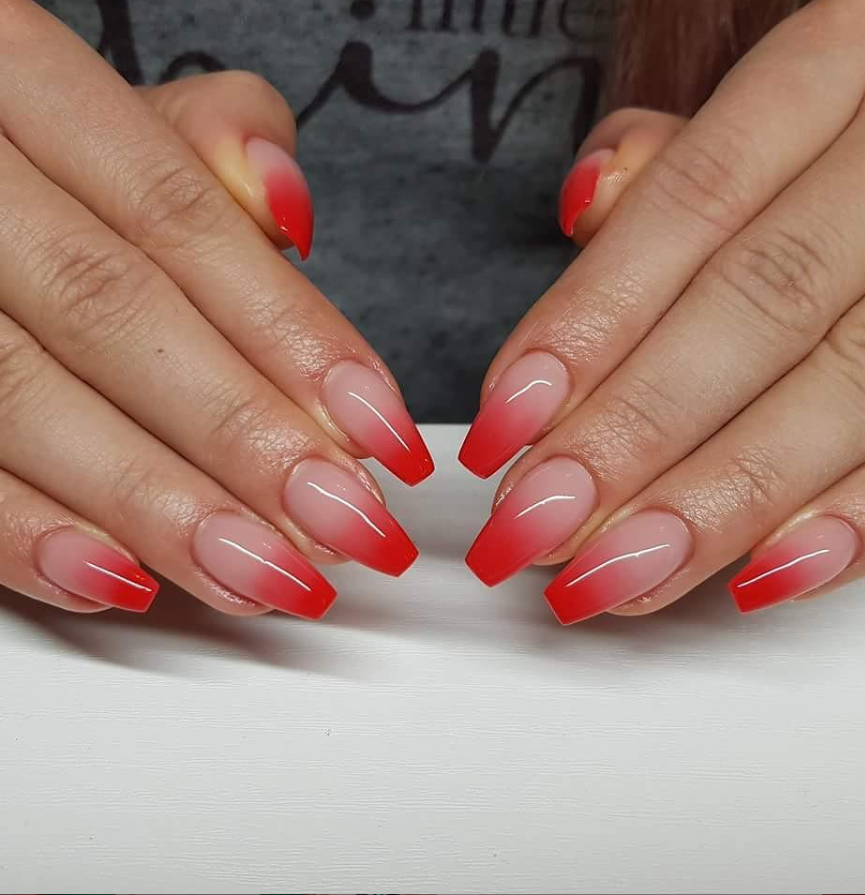 80 Hottest Acrylic Coffin Nails Color For Summer Nails Page 44 Of 84 Latest Fashion Trends For Woman Red Nails Red Ombre Nails Red Acrylic Nails