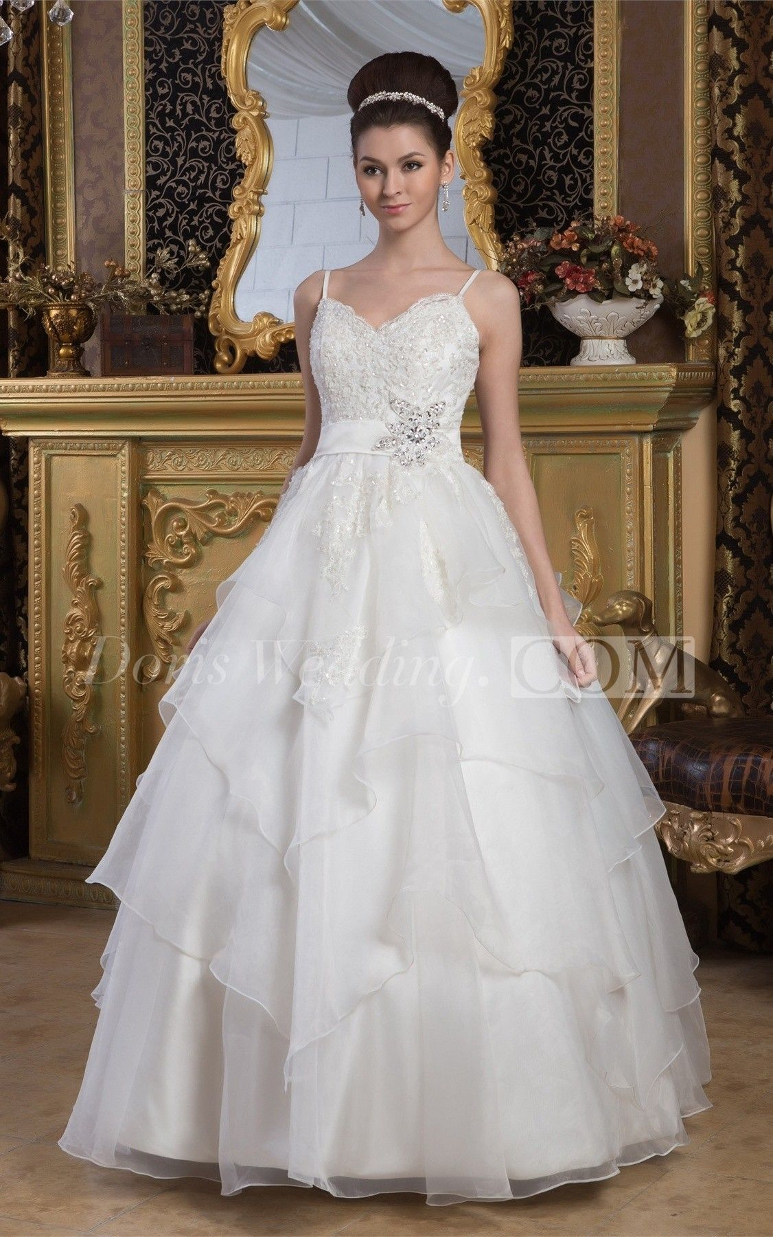 Lace Tulle ALine Spaghetti Straps and BallGown With Beading