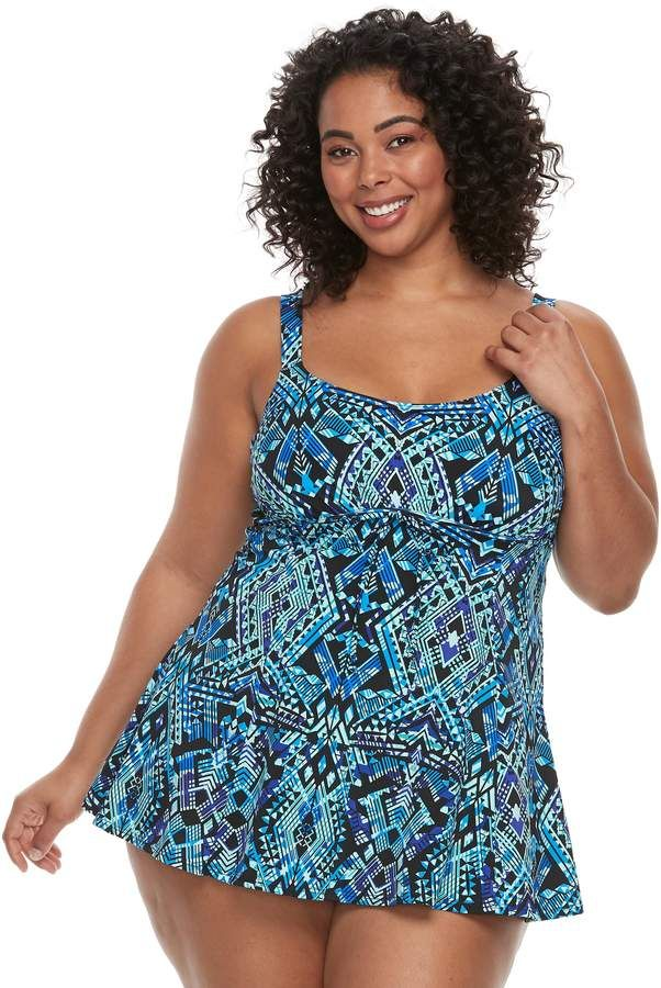 10bf1fe54fc Plus Size A Shore Fit Hip Minimizer Drawstring One-Piece Swimdress ...